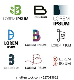 B Letter Abstract Vector Logo Design Template. Creative Typographic Concept Icon Set