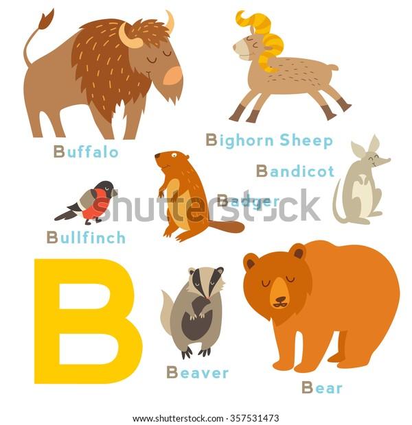 B letter animals set. English alphabet. Vector illustration, isolated on white background