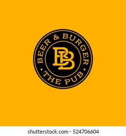 B letter. Beer Pub logo. Beer and burger pub emblem.  Monogram double B in a circle on a yellow background