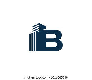 B Letter With Building For Construction Company Logo