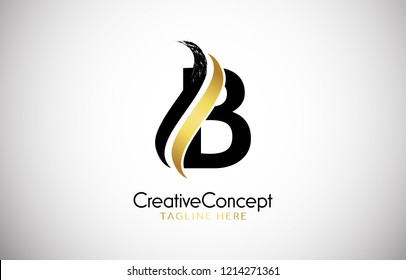 B Letter Design Brush Paint Stroke. Letter Logo with Black and Color Paintbrush Stroke.