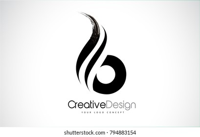 B Letter Design Brush Paint Stroke. Letter Logo with Black Paintbrush Stroke.