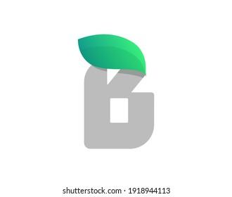B letter eco logo with leaf. Vector font for bio posters, spa emblem, vegan, herbal and botanical cards etc.