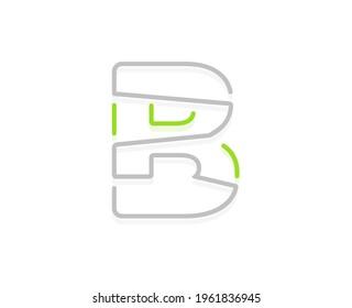 B letter ecology logo. Vector font for bio posters, spa emblem, vegan, herbal and botanical cards etc.