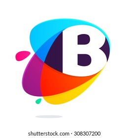 B letter with ellipses intersection logo. Abstract trendy multicolored vector design template elements for your application or corporate identity.