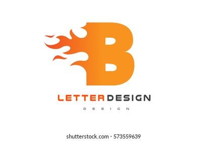 B Letter Flame Logo Design. Fire Logo Lettering Concept Vector.