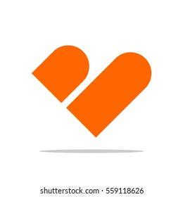 B Letter Heart Shape Logo Template