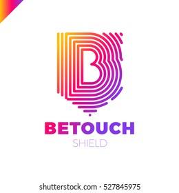 B letter line logo in shield. Vector fingerprint design template elements.