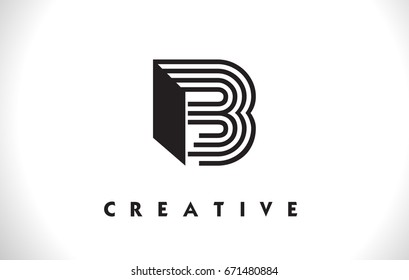 B Letter Logo With Black Lines Design. Line Letter Symbol Vector Illustration