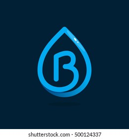 B letter logo in blue water drop. Line style icon. Vector ecology elements for posters, t-shirts and cards.