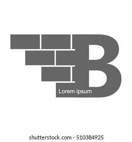 B  letter Logo, brick wall logo design.  Vector image.