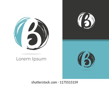 B letter logo design, letter B in brush stoke vector icon.
