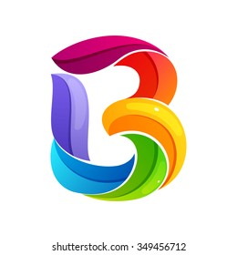 B letter logo formed by twisted lines. Font style, vector design template elements for your application or corporate identity.