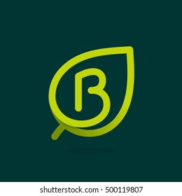 B letter logo in green leaf. Line style icon. Vector ecology elements for posters, t-shirts and cards.