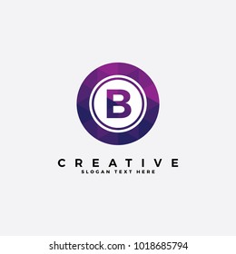 B letter logo illustration template. with polygonal style.