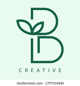 B letter logo with leaf. Line style icon. Creative modern Nature logo design for B