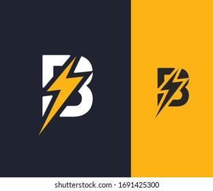 B Letter Logo. Lighting logo with B letter. Bolt Logo. Thunder Logo.