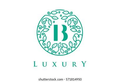 B Letter Logo Luxury. Green Beauty Cosmetics Logo Monogram.