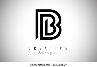 B Letter Logo Monogram Design. Creative B Letter Icon with Black Lines Vector Illustration.