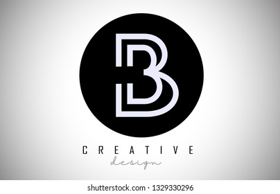 B Letter Logo Monogram Design. Creative B Letter Icon on Black Circle Vector Illustration.