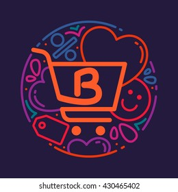 B letter logo with shopping cart icon, hearts and smile.  Vector design element for card, corporate identity, label or poster.