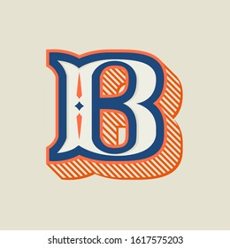 B letter logo in vintage western style with striped shadow. Vector font for barber shop labels, sport posters, jewelry cards etc.