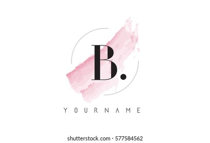 B Letter Logo with Watercolor Pastel Aquarella Brush Stroke and Circular Rounded Design.
