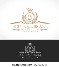 B letter luxury boutique brand logo template.