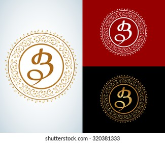 B letter monogram. Boutique Luxury Vintage, logo. Business sign, identity for Restaurant, Royalty, Boutique, Hotel, Heraldic, Jewelry, Fashion ,Real estate,Resort. Vector illustration.