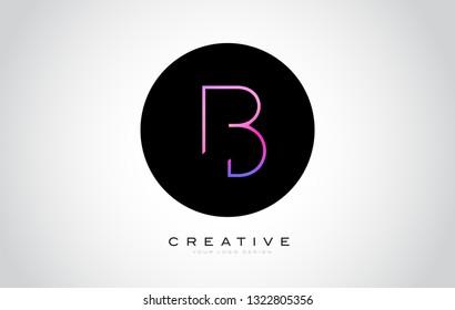 B Letter Monogram Logo Design. Modern B Icon With Creative Beautiful Purple Black Monogram Design.