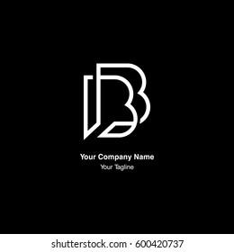 B letter monogram, negative space