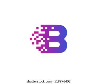 B Letter Pixel Motion Logo Design Template