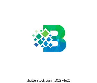 B Letter Pixel Multiply Colorful Logo Design Template