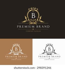 B letter premium brand vintage luxury crest logo template
