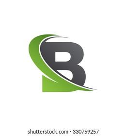 B letter swoosh green logo