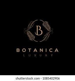 B letter vector logo. Botanic emblem. Organic sign