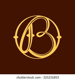 B letter in vintage circle. Vector repair design template elements for your application or corporate identity.