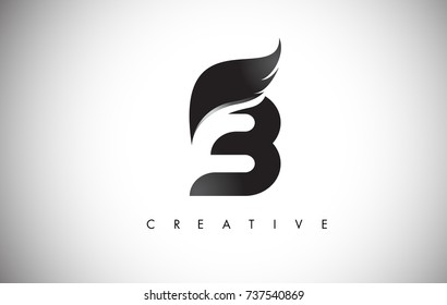 B Letter Wings Logo Design Icon. Flying Wing Letter Logo with Creative Black Wing Concept.