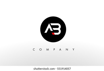 A B Logo. AB Letter Design Vector with Orange Color