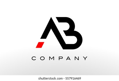 A B  Logo. AB Letter Design Vector with Black Red Color.