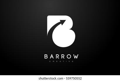 B Logo Arrow.B Letter Design Vector Illustration Modern Monogram Icon.
