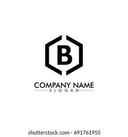 B logo with  black hexagon