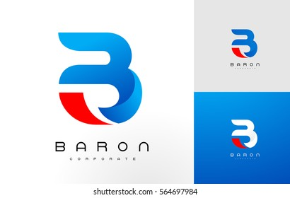 B Logo Blue Red .B Letter Icon Design Vector Illustration.