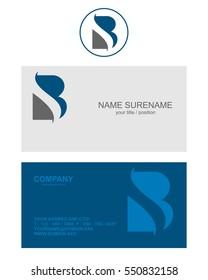 B logo business card