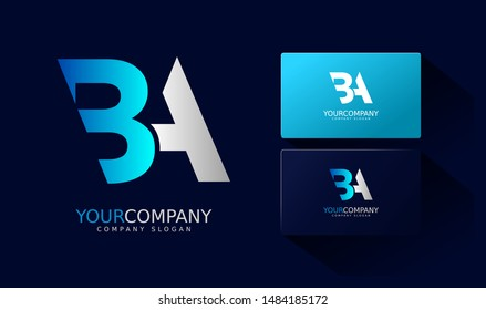 B A Logo and business card. BA Letter modern Design Vector with blue and silver gradient color.