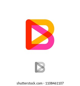 B logo. B monogram. Pink and yellow transparent letter. Building or construction logo. Monochrome option.