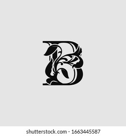 B Luxury Letter Logo Icon,  Monogram vector design concept abstract nature floral  letter with leaf.
