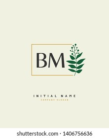 B M BM Beauty vector initial logo, handwriting logo of wedding, fashion, jewerly, heraldic, boutique, floral and botanical with creative template for any company or business.