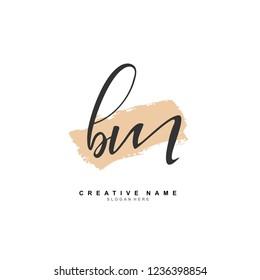 B M BM Initial logo template vector. Letter logo concept