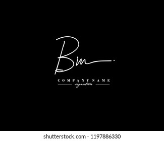 B M BM Signature initial logo template vector